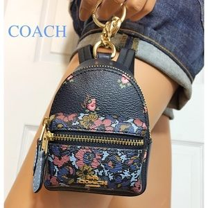 Coach Backpack Keychain Coin Case Blue Bag Charm